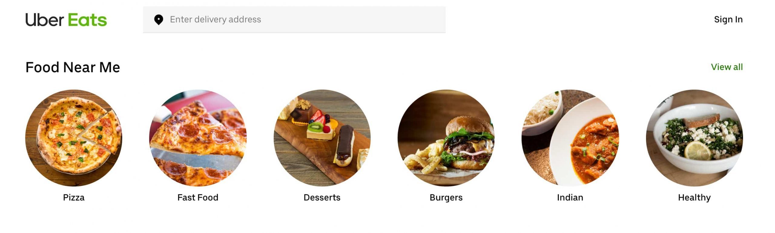 Uber Eats Dubai location based suggestions