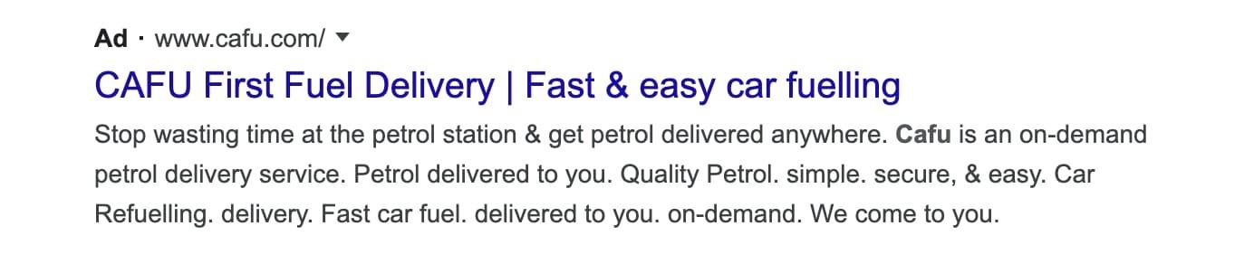 Cafu Google Ad