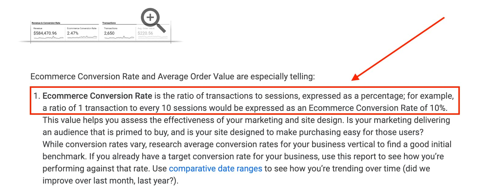Google ecommerce conversion rate definition