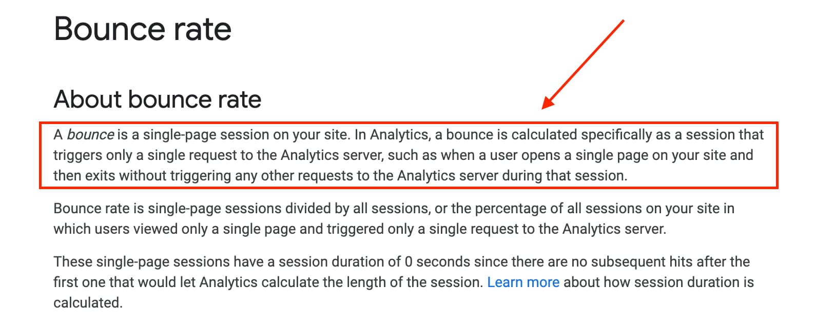 Google Bounce rate definition